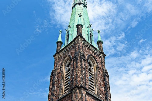 Fototapeta Colonial steeple tower of the Jarvis Baptist Church in Toronto, Canada