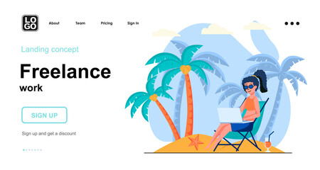 Freelance work web concept. Woman freelancer working on laptop relaxing on beach. Remote worker. Template of people scene. Vector illustration with character activities in flat design for website