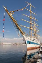 Big Sail Ship Docked In The Port Varna. Varna Is The Sea Capitol Of Bulgaria
