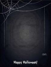 Lkboard Blackboard Background For Halloween Design With Hand Drawn Web