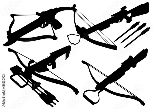 Canvas-taulu Crossbows with arrows in the set. Vector image.