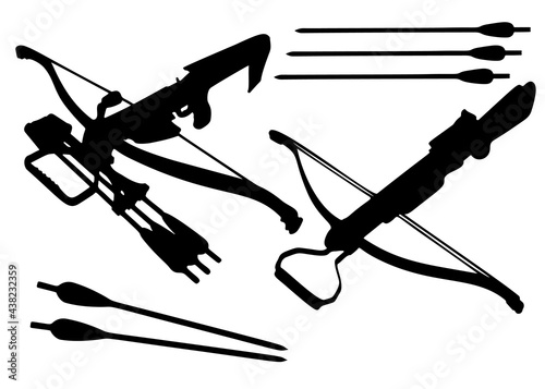 Fotografering Crossbows and arrows to them in a set. Vector image.