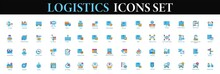 Logistics Icon Set. Cargo And Delivery Service Icons. Logistic Transport Shipping Icon Vector.