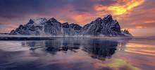 Vestrahorn Mountain Reflections At Sunset, Stokksnes Peninsula, Iceland