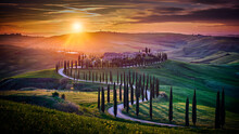 Tuscany Under Waves Of Golden Light