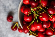 Overhead View Of A Bowl Of Red Cherries