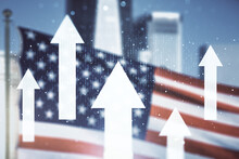 Abstract Virtual Upward Arrows Sketch On US Flag And Skyline Background, Target And Goal Concept. Multiexposure