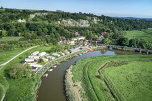 Aerial View Towards Amberley With Boats On The River Arun With Amberley Railway Station.in The Background.