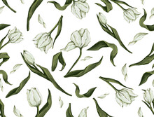 Seamless Pattern With White Tulips, Background With Spring Flowers, Hand Drawing With Oil Brushes On Canvas Texture
