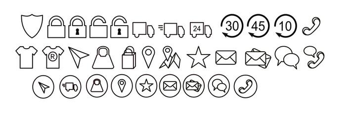zestaw ikon, tarcza, zamknięty otwarty, dostawa zwrot jakość , lokalizacja, telefon, czat, dostawa