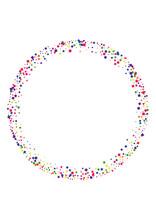 Yellow Frame Square Illustration. Sparkle Circle Background. Purple Star Decoration. Festival Confetti Background. Blue Pattern Dot.