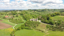 Aerial Photo Of Novigrad Castle, Home Of Famous Frankopan Landlord Family Standing Above Dobra River Near The Town Of Karlovac, Surrounded By Beautiful Nature