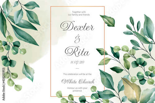 Billede på lærred wedding invitation card with floral borders design vector illustration