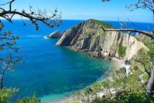 Vista Panorámica De La Playa Del Silencio, En Asturias
