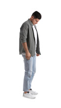 Unhappy Man In Casual Outfit On White Background