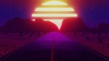 Seamless Endless Road Through The Desert With Retro Futuristic Sky And Sun. 3D Render Loop Animation Of Mountains, Cyberpunk, Game Render 80s 90s Vintage Old Style
