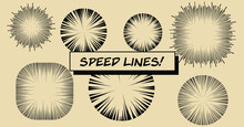 Set Of Vector Elements For Manga And Comic Book Design. Hand-drawn Lines, Streaks To Convey The Impression Of Speed.