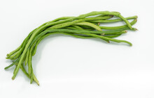 Bunch Of Fresh String Bean Or Long Bean Or Cow-pea On White Background, Top View Image.