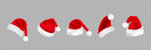 Big Set Of Realistic Santa Hats Isolated On Transparent Background. Vector Santa Claus Hat Colllection, Holiday Cap To Xmas Illustration
