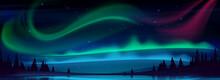 Arctic Aurora Borealis Over Night Lake In Starry Sky, Polar Lights Natural Landscape. Northern Amazing Iridescent Glowing Wavy Illumination Shining Above Water Surface, Cartoon Vector Illustration