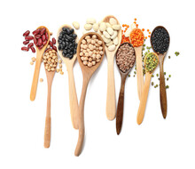 Spoons With Different Legumes On White Background