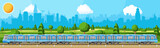 High Speed Train and Landscape With Cityscape.