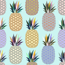 Seamless Pattern Of Colorful Pineapple Fruits Background Vector Illustration.