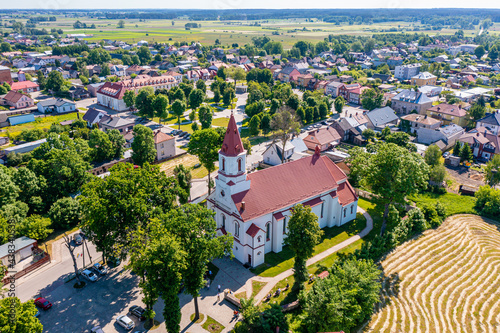 Tela Aerial view of Knyszyn city center, town square, city hall and church