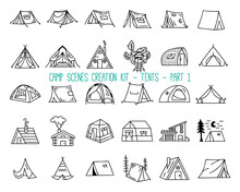 Set Of Linear Icons Of Camping Tents