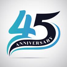 45th Years Anniversary Celebration Template Design.