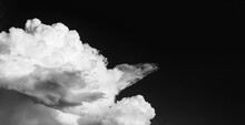 Big White Cloud In A Blue Sky, Black And White Photo