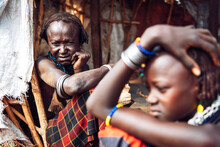 Young And Old Women From Dassanech Tribe In Village, Omo Valley,