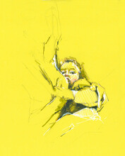 Babe Watercolor Illustration On Yellow Background