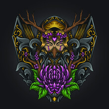 Artwork Illustration And T Shirt Design Goddess Nature Engraving Ornament