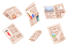 Set Of Newspapers Isolated On White Background. Collection Of Monthly, Weekly Publications Of Various Articles. Colorful Illustration In Modern Flat Cartoon Style For Advertisement Design