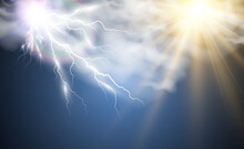 Climate Vector Drawing Of The Sun And Lightning Shining Through The Clouds.