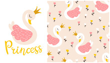 Swan Princess Composition With Tulip Flowers Seamless Pattern. Vector Fairy Tale Cute Illustration In Hand-drawn Scandinavian Cartoon Style. The Pastel Palette Is Ideal For Baby Clothes, Textiles.