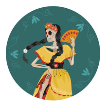 The Skeleton Of A Mexican Dancer In National Dress. A Postcard For The Day Of Death. A Female Skeleton Dancing With A Fan In Her Hand. Vector Illustration In Cartoon Style.