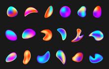 Collection Gradient Iridescent Shape Vector Illustration Liquid Elements Holographic Chameleon