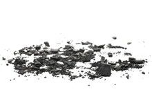 Coal Chunks And Dust Pile Isolated On White Background