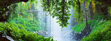 Panoramic View From Behind Waterfall Plunging Into A Rainforest