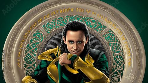 Obraz na plátně digital drawing scandinavian god Loki