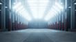 Leinwandbild Motiv Leere hell beleuchtete Lagerhalle mit Neonröhren