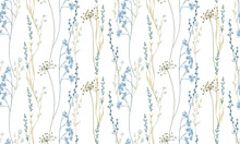Hand Drawn Watercolor Seamless Pattern With Meadow Wild Flowers. And Grass.
