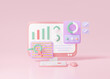 SEO or Search Engine Optimization marketing concept. growth web analytics click search via keyword information computer minimal on pink pastel background. 3D rendering illustration