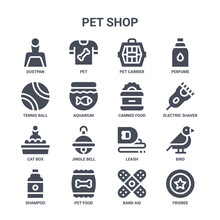 Icon Set Of 16 Pet Shop Concept Vector Filled Icons Such As Pet, Tennis Ball, Electric Shaver, Leash, Pet Food, Frisbee, Band Aid, Canned Food, Perfume