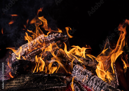 Camp fire in the night, close-up #438416591