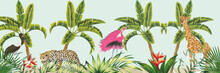 Illustration Of Different Jungle Animals On Tropical Background