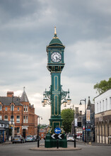 The Chamberlain Clock Jewellery Quarter Birmingham UK Green Edwardian Clocktower Standing At Junction Of Vyse And Frederick Streets With Warstone Lane. Monument To Joseph Chamberlain In Brum.