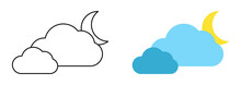 Set With Different Weather Icons. Icons Of Moon And Cloud On A White Background. Cloud Vector Logo. Linear And Color Icons.